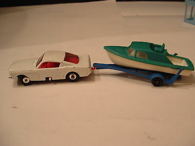 Matchbox Lesney Turning Wheels 60's White Ford Mustang #8 + Boat w/ Trailer #9