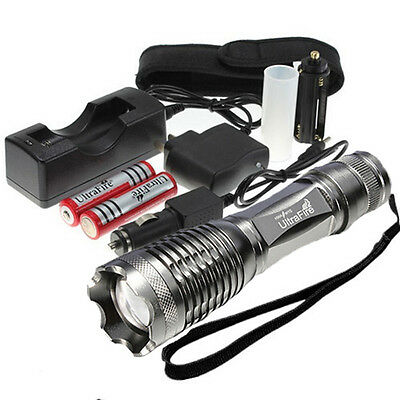 2000 Lumen CREE XM-L T6 LED Rechargeable Flashlight Torch 18650 Battery Charger