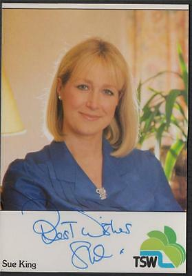 SIGNED - SUE KING - original TSW TELEVISION SOUTH WEST promo card  zc211