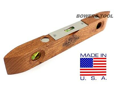 "Grace USA 9"" Wooden Torpedo Level MADE IN USA Wood Vintage Style Carpenter"