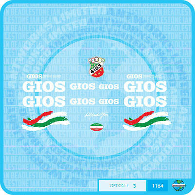 Silver Decals Transfers 01617 Gios Torino Bicycle Frame Stickers