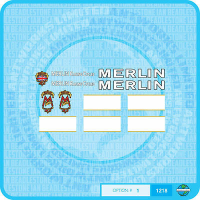 07174 Merlin Racing Cycles Bicycle Head Badges Stickers Transfers Decals