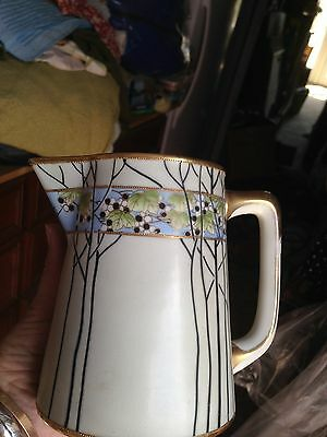 """5.75"""" tall Nippon hand painted pitcher branches,gold,banded,arts & crafts"""