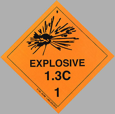 "4"" x 4"" EXPLOSIVE Decal  - Gun Safe Sticker DOT Label Man Cave Ammo Warning NRA"