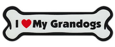 Dog Bone Shaped Car Magnets: I LOVE MY GRANDOGS GRANDDOGS