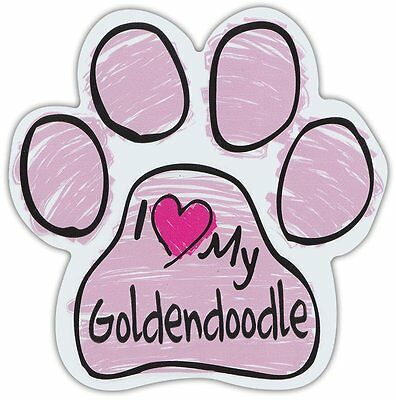 Pink Scribble Paws: I LOVE MY GOLDENDOODLE GOLDEN DOODLE | Dog Paw Car Magnets