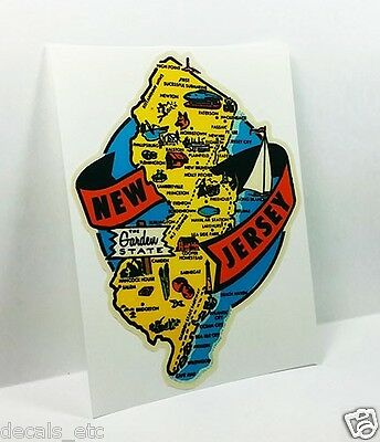"""New Jersey  NJ /""""Garden State/""""     1950/'s  Vintage  Looking  Travel Decal Sticker"""
