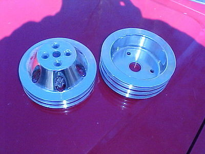 polished aluminum 2 & 3 groove pulley kit,BBC,short water pump,396,rat rod 427