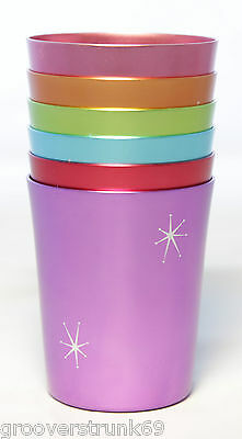 Starburst Anodized Aluminium Cups Set 6 Vintage  Mugs Tumblers Homewares 350ml
