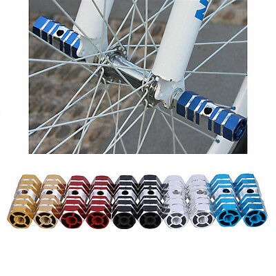 """2 BMX Mountain Bicycle Cycling 3/8"""" Axle Cylinder Aluminum Stunt Foot Pegs Pedal"""