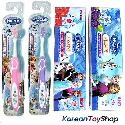 Disney Frozen Toothbrush 2pcs (Pink & Purple) + Toothpaste 2 Flovors (2 tubes)