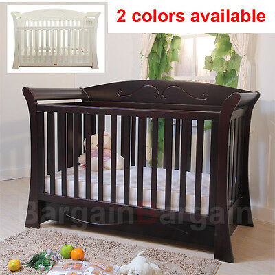 3 in 1 Wooden Baby Toddler Sleigh Cot Crib Bed Bassinet Drawer Free Mattress 610