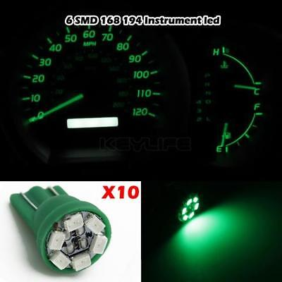 10x T10 Wedge Green Speedometer Instrument Gauge Cluster LED Light Bulbs 158 194