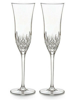 Pair of Waterford Crystal Lismore Essence Champagne Flute Glasses *New in Box*