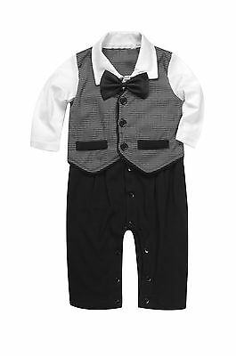 Baby Boy Formal*Party*Christening*Wedding*Tuxedo Waistcoat Bow Tie Suit 0-24M