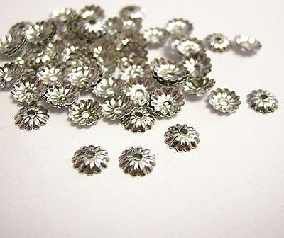 100pc 5mm nickel look metal bead cap-9321