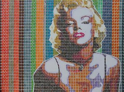 "SUPERB GARY HOGBEN ORIGINAL ""Monroe in Stamps"" MARILYN ACTRESS ICON PAINTING"