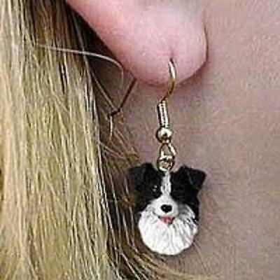 DHEH62 Border Collie Earrings Hanging