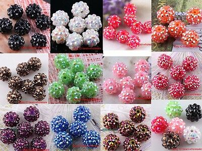 Wholesale 10pcs Resin Rhinestones Crystal Round Spacer Beads 12Colors&3 Sizes