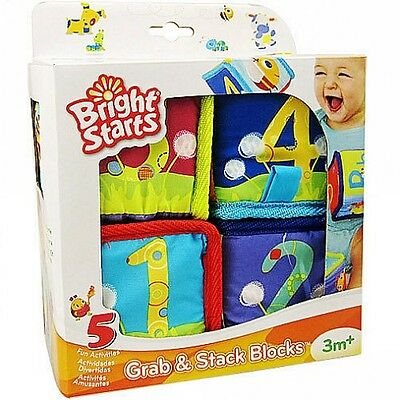 Bright Starts Baby Kid Soft Stuffed Rattle Cloth Blocks Match & Sorters Toy Set