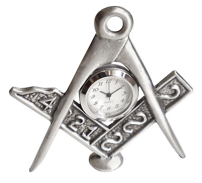 Masonic Square & Compass Solid Pewter Desk Clock