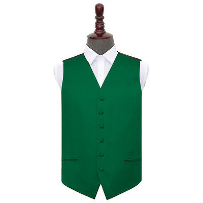New DQT Plain Emerald Green Mens Wedding Waistcoat