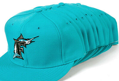 Wholesale Lot of 10 New Era Florida Marlins Fitted Teal Blue Hats Assorted Sizes