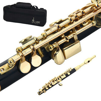 New Professional Piccolo Golden Black C Key School Band with Case