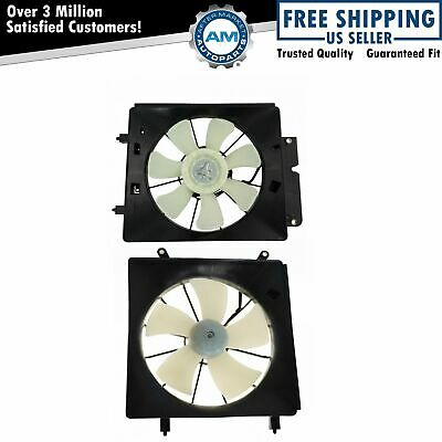 Radiator & AC Condenser Cooling Fan Assembly Pair for 02-06 Honda CR-V CRV