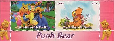 "WINNIE THE POOH 6"" x 2.5"" REPUBLIQUE DU BENIN 2014 MNH STAMP PAIR SHEETLET"