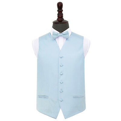 DQT Satin Plain Solid Baby Blue Mens Wedding Waistcoat & Bow Tie Set S-5XL