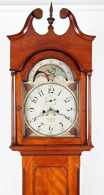 1810 Cherry Tall Case Grandfather Clock William J. Leslie Trenton NJ
