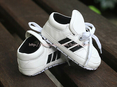Toddler Baby Boy White Sneakers Soft Sole Crib Shoes Newborn to 18 Months
