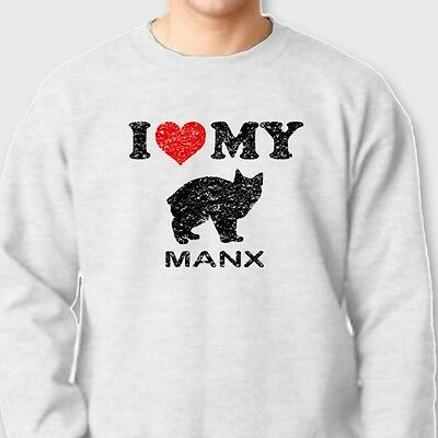 I Heart My Manx Cat Owner Breed T-shirt Kitten Pet Rescue Crew Neck Sweatshirt