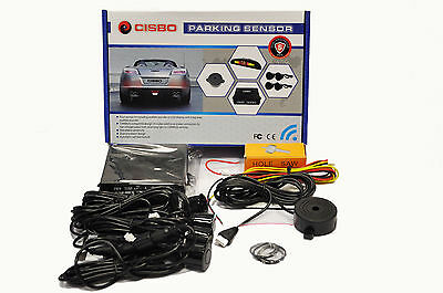 Cisbo Rear Reverse Car Parking Sensors Four Sensor Audio Buzzer Alarm System