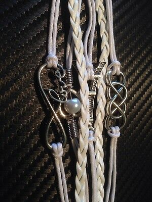 white leather multi strand bracelet with silver  charms