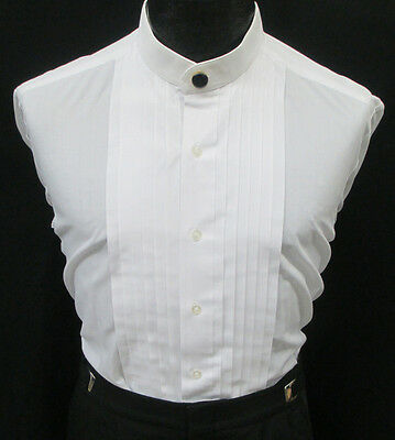 White Banded Mandarin Collar Tuxedo Shirt *Free Button Cover* 2XL(18-18.5) 38/39