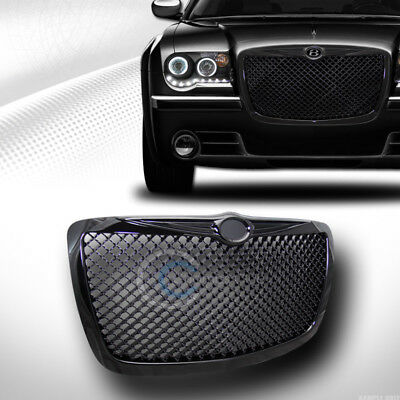 Fits 04/05-10 Chrysler 300 300C Glossy Black Mesh Front Hood Bumper Grill Grille