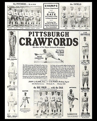 Pittsburgh Crawfords 1933 Negro League Promo Poster - 8x10 Photo