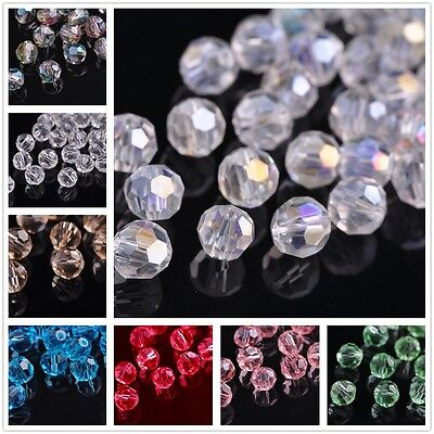 Wholesale 40/100pcs 8mm Round Faceted Ball Crystal Glass Loose Spacer Beads