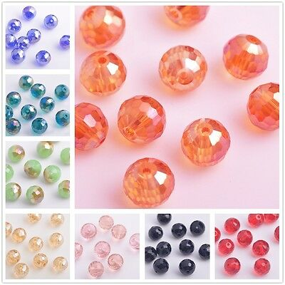 Wholesale 10/50pcs 10mm Round 96Faceted Ball Crystal Glass Loose Spacer Beads