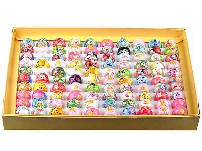 Wholesale Mixed Color Jewellery Kids/Childrens Lucite Resin Rings 50pcs Gift