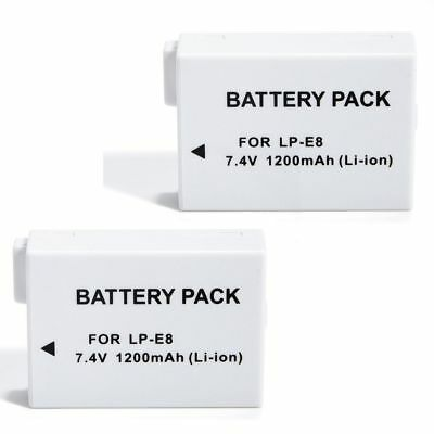 2 (Two) Battery Pack for Canon LP-E8 LPE8 EOS Rebel T2i T3i T4i T5i Camera