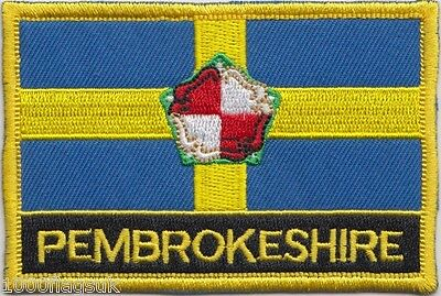 Pembrokeshire County Wales Flag Embroidered Patch Badge - Sew or Iron on