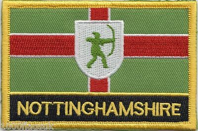 Nottinghamshire County Flag Embroidered Patch Badge - Sew or Iron on