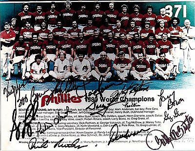 1980 Phillies World Series 14 Signed 8X10 Team Photo