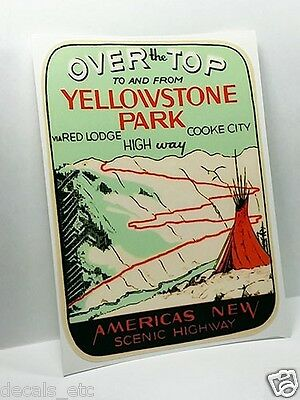 YELLOWSTONE PARK Scenic Highway Vintage Style Travel Decal, Vinyl STICKER, Label