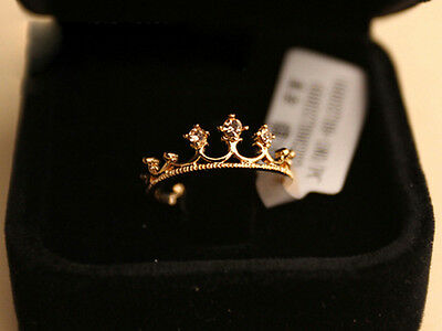 9K rose gold crystal rhinestone crown finger ring ROYALTY PRINCESS Gold Plated