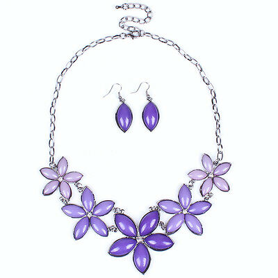 New Flower Style Resin Gun Black Pendant Necklace Earring Jewelry Set For Gift