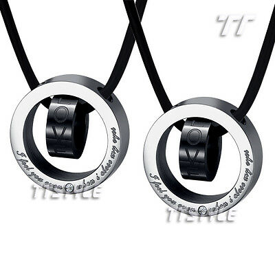 T&T Black Stainless Steel Love Pendant Necklace For Couple Engravable NEW